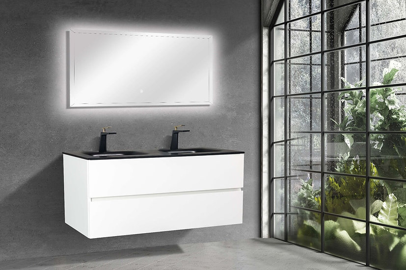 """48"""" Emily - White - Double Sink Wall-Hung Bathroom Vanity"""