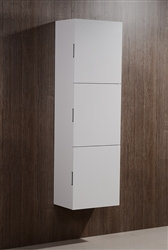 High Gloss White Bliss Bathroom Linen Cabinet w/ 3 Large Storage Areas