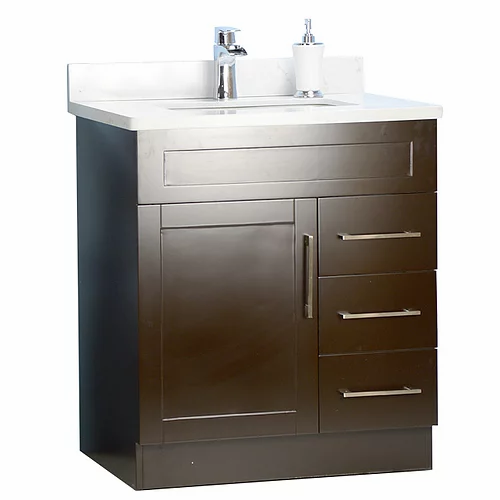 "30"" Shaker Style Espresso Bathroom Vanity with Stone Top"