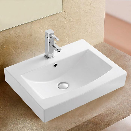 White Rectangle Ceramic Above Counter Basin