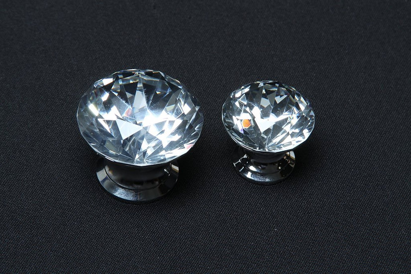 Large The Diamond Knob: Crystal Handle with Chrome Finish