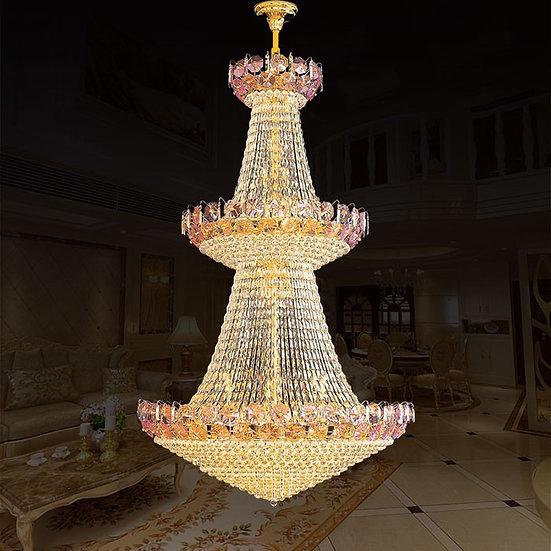 109-Light Gold Crystal Hall Chandelier, LIG8946800127