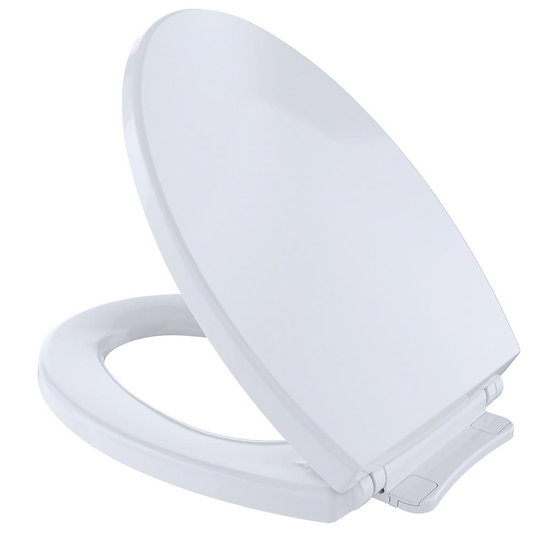 Toto Soft Close Toilet Seat, Elongated, Closed Front, Cotton White, With Cover