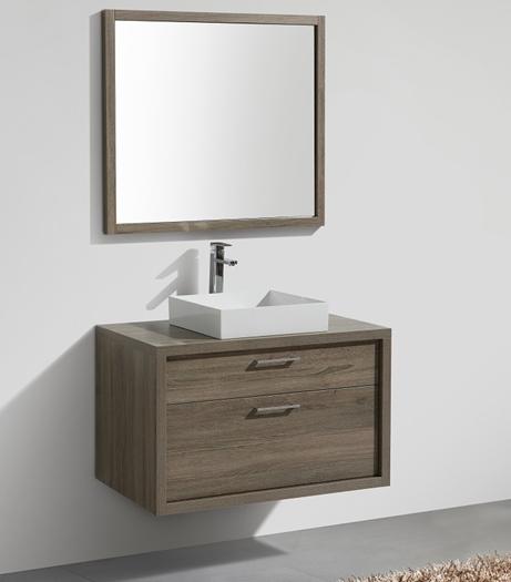 "Tucci 36"" Havana Oak Wall Mount Modern Bathroom Vanity"