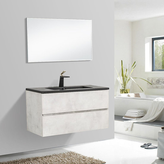 "36"" Edge - Grey - Single Sink Wall-Hung Bathroom Vanity"