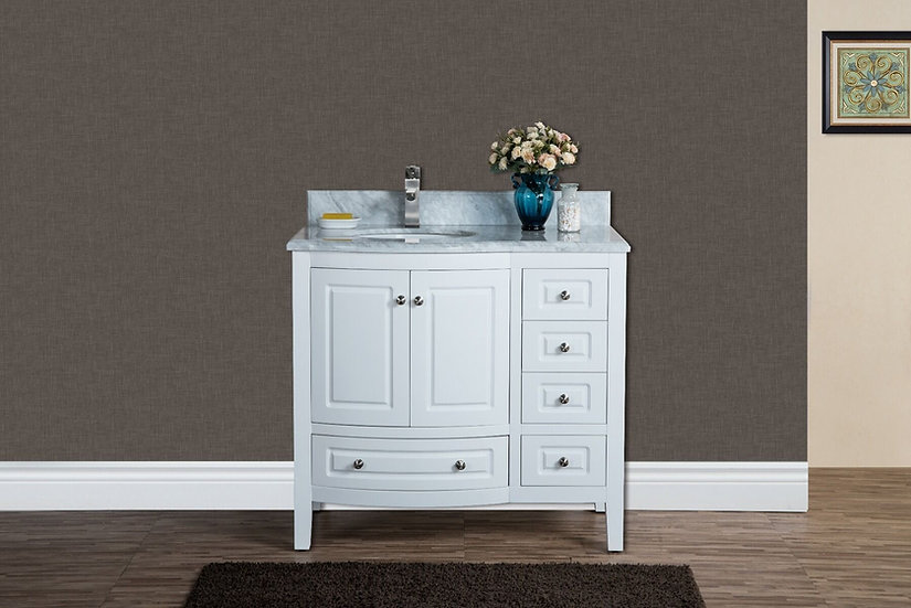 "36"" PORTO - White - Bathroom Vanity with Carrera Marble Countertop"