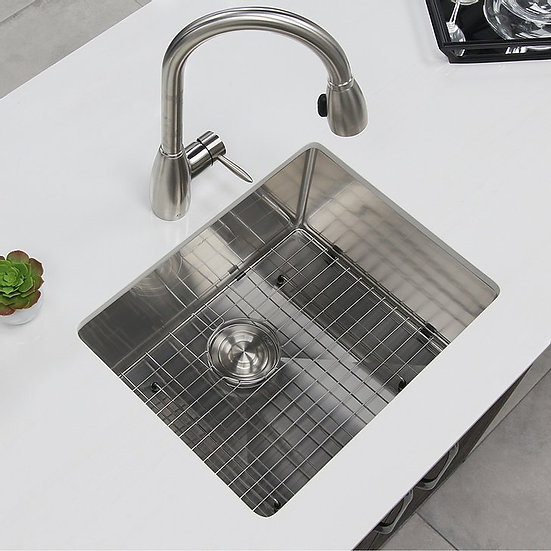 23 in Single Bowl Kitchen Sink, 16 Gauge Stainless Steel with Grid and Basket St