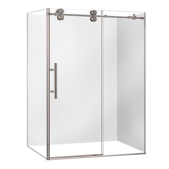 "60"" Brushed Nickel Finish Shower Door With 36"" Side Panel"