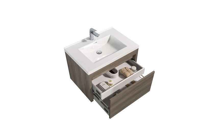 "30"" Labrador - Maple Grey - Single Sink Wall-Hung Bathroom"
