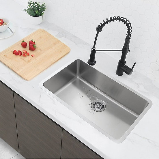 29 in Dual Mount Single Bowl Kitchen Sink, 18 Gauge Stainless Steel with Standar