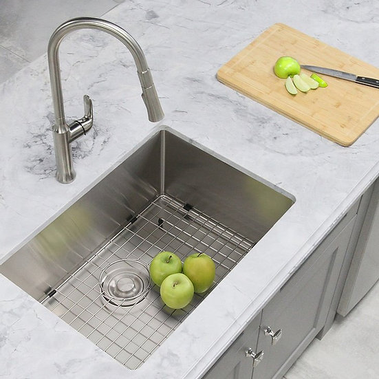 28 in Single Bowl Kitchen Sink, 16 Gauge Stainless Steel with Grid and Basket St