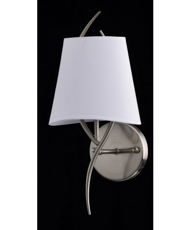 Satin Nickel Single Wall Sconce with White Shade