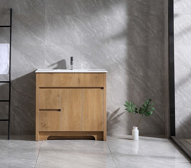 """36"""" INDY - Frosted Oak - Single Sink Bathroom Vanity with Ceramic Countertop"""