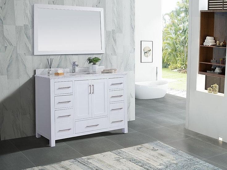 "48"" Carmela White - Carrera Countertop - Single Sink Bathroom Vanity"