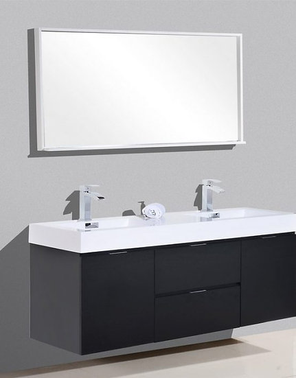 "Bliss 60"" Black Wall Mount Double Sink Vanity"