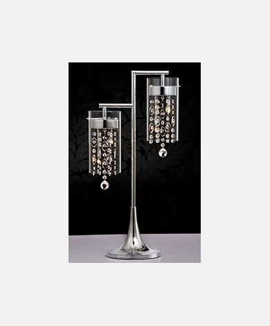 Double Pendant Chrome & Crystal Table Lamp
