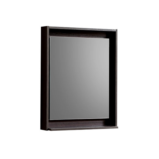 "24"" Wide Mirror w/ Shelf - High Gloss Gray Oak"