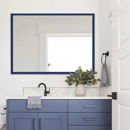 "LBG Navy Blue Bathroom Mirror, 40"" x  32"""