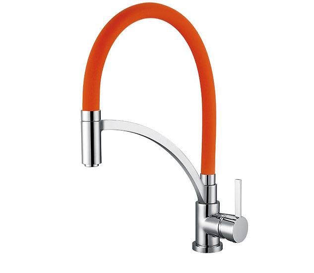 Acqua + Bango, Solid Brass single handle Kitchen Faucet, Orange and Chrom
