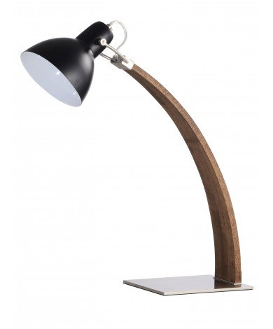 Radius Desk Lamp w/ Black Shade & Walnut Finish