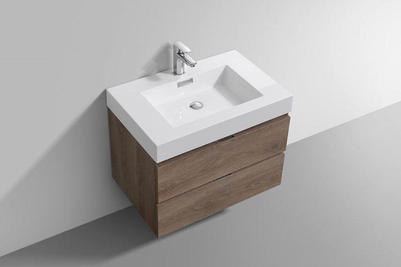 30″ BLISS - Butternut - Single Sink Wall-Hung Bathroom Vanity