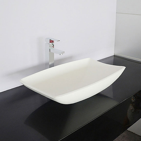 White Rectangular Artificial Stone Above Counter Bathroom Vessel Sink