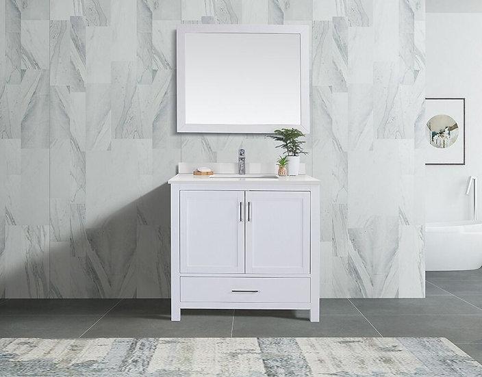 "36"" Carmela White - White Quartz - Single Sink Bathroom Vanity"