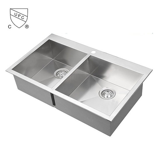 Stainless Steel Double Bowl Kitchen Sink, drop-in