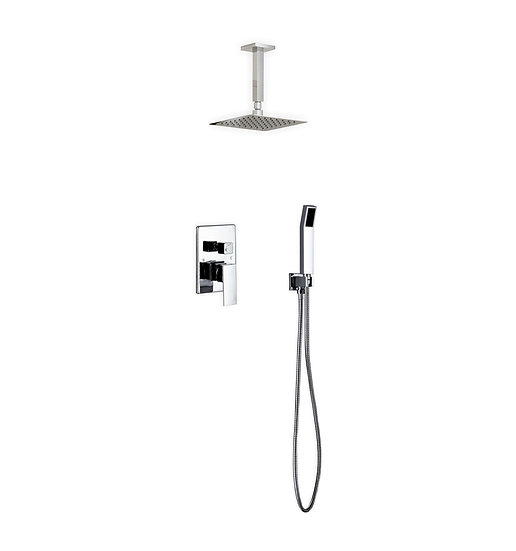 "Aqua Piazza: 8"" Ceiling Mount Square Rain Shower and Handheld"