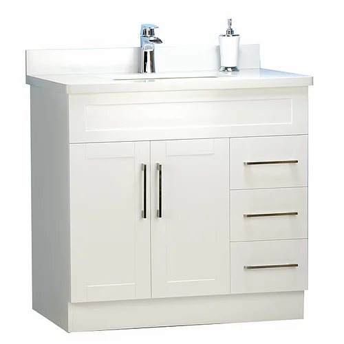 "32"" Shaker Style White Bathroom Vanity with Stone Top"
