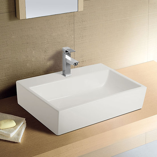 White Ceramic Above Counter Basin