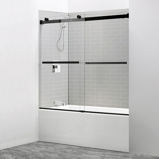 """60"""" Sliding Bathtub Door With Black Stainless Steel Accents"""