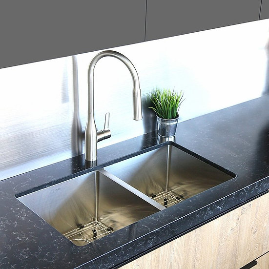 32 in Double Bowl Kitchen Sink, 16 Gauge Stainless Steel with Grids and Basket S