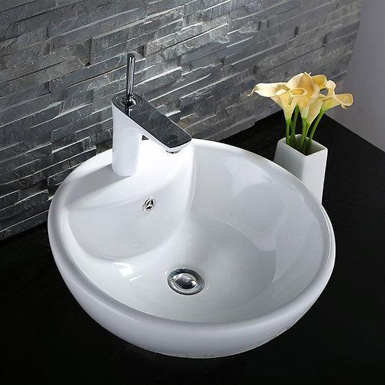 White Round Ceramic Above Counter Vessel Sink