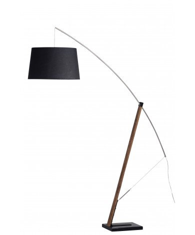 Floor Arc Lamp w/ Black Shade & Walnut Stain Wood