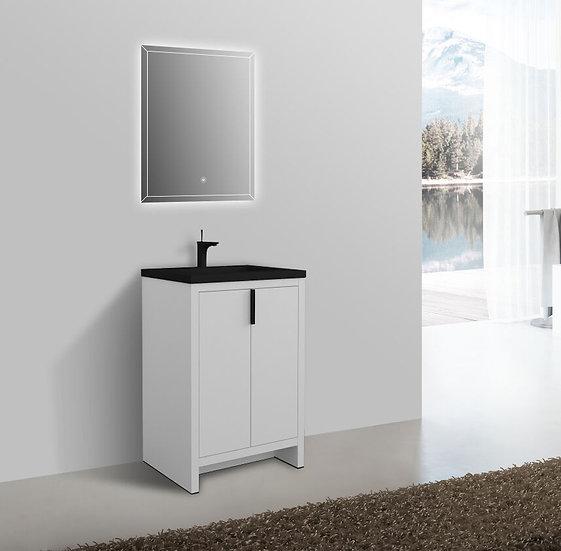 "24"" Alaska - White - Single Sink Bathroom Vanity - Modified Black Quartz Ctop"