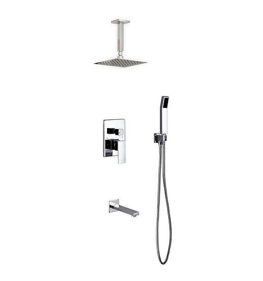 "Aqua Piazza: 8"" Ceiling Mount Square Rain Shower, Handheld and Tub Filler"