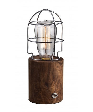 Table Lamp, Round Walnut Base w/ Metal Cage