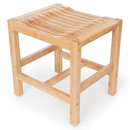 Deluxe 100% Wooden Natural Bamboo Shower and Bath Seat Bench