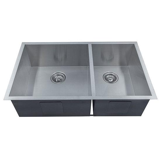 Stainless Steel Handmade Kitchen Sink, Double Bowls, under-mount