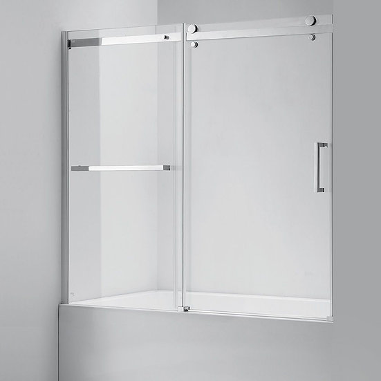 "60"" Sliding Chrome Finish Tub-Shower Door With Roller Wheels"