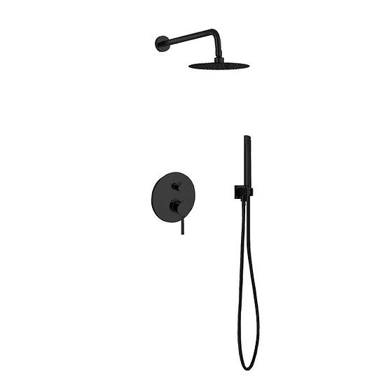 AQUA RONDO BLACK SHOWER SET W/ 8″ RAIN SHOWER AND HANDHELD