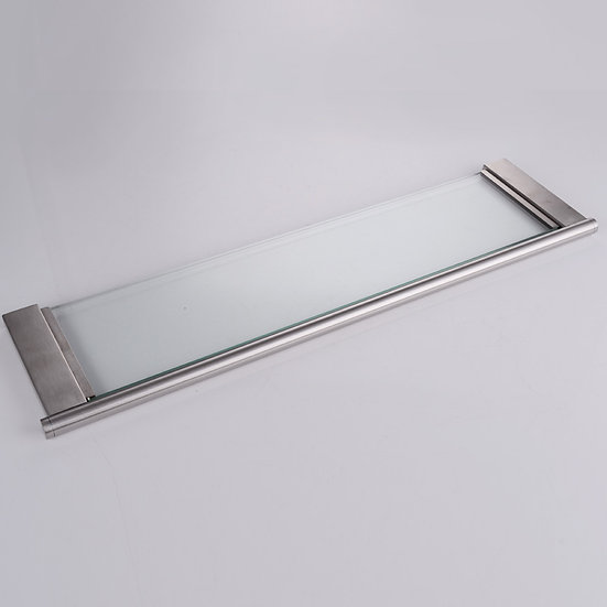 Single tier glass hotel bathroom shelves, 304 stainless steel