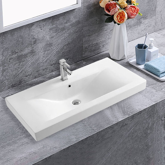 LBG White Rectangle Ceramic Bathroom Vanity Basin