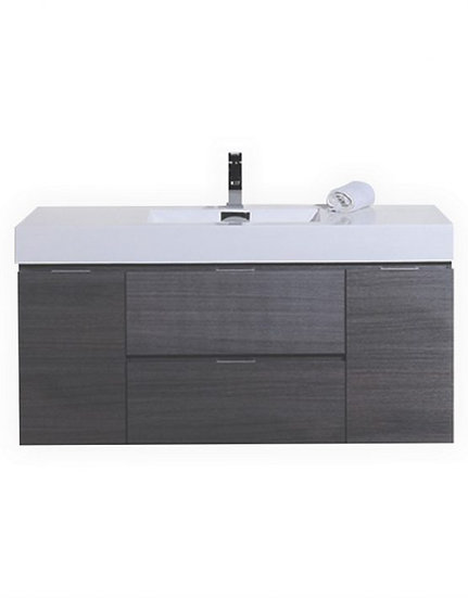 "Bliss 48"" Gray Oak Wall Mount Single Sink Vanity"