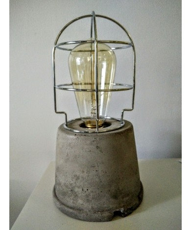 Tapered Cylinder Concrete Table Lamp w/ Metal Cage
