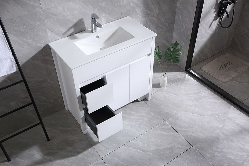 "36"" Indy - White Combo with Ceramic Countertop - Single Sink"