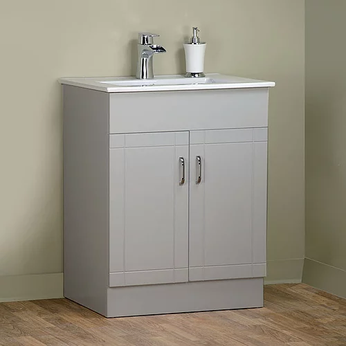 "30"" Asher Style Grey Bathroom Vanity with Ceramic Top"