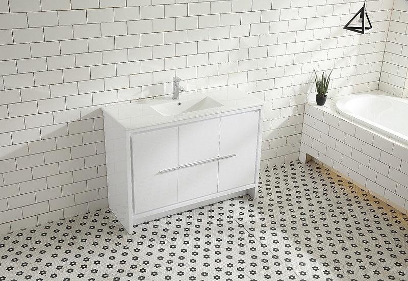"""48"""" Melanie - White - Single Sink Bathroom Vanity"""