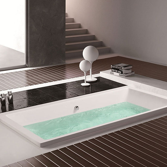59 In Rectangle Built-in Bathtub – Acrylic White